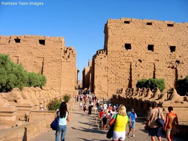 Karnak temple Avenue of ramheaded  sphinxes